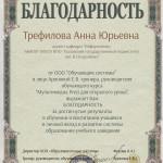 Благодарность Трефилова Анна Юрьевна