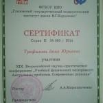 Сертификат участника Всероссийской конференции 2014